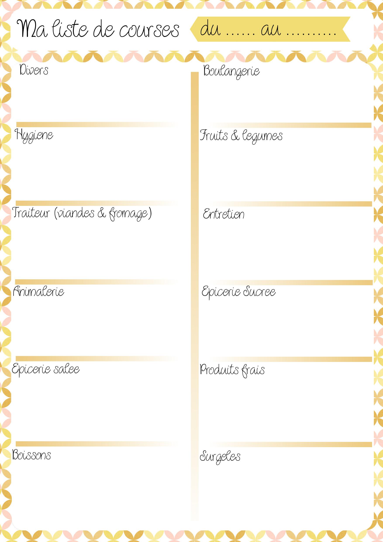 Fabuleux Sélection de 10 menus et listes de courses à imprimer Simplement  ZX71